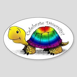 Gay Pride Turtle Oval Sticker