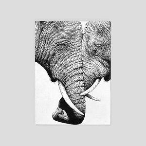 Elephants Trunks Entwined 5'x7'Area Rug