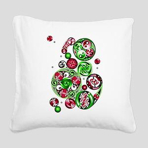 Christmas Celtic Spirals Square Canvas Pillow