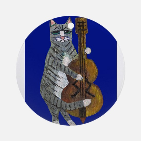 Cat and Cello on Blue Ornament (Round)