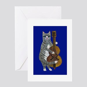 Cat and Cello on Blue Greeting Card