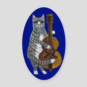 Cat And Cello On Blue Oval Car Magnet