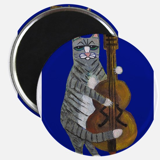 Cat and Cello on Blue Magnet