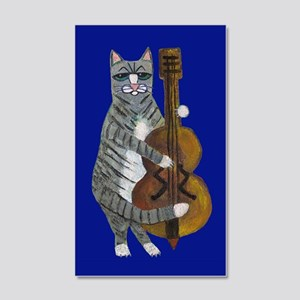 Cat And Cello On Blue 20x12 Wall Decal