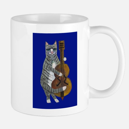 Cat and Cello on Blue Mug