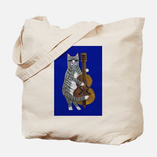 Cat and Cello on Blue Tote Bag