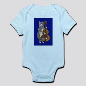 Cat and Cello on Blue Infant Bodysuit