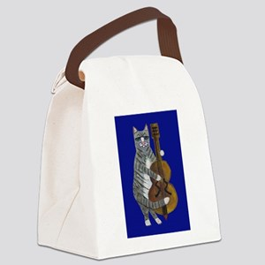 Cat and Cello on Blue Canvas Lunch Bag