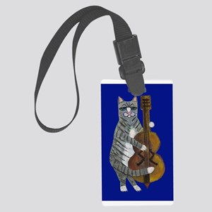 Cat And Cello On Blue Large Luggage Tag