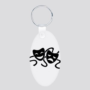 theatre masks Aluminum Oval Keychain