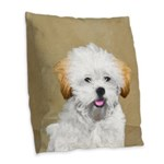 Lhasa Apso Burlap Throw Pillow