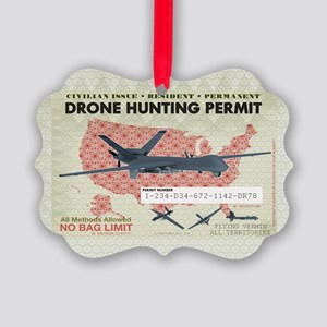 Drone Hunting Permit Picture Ornament