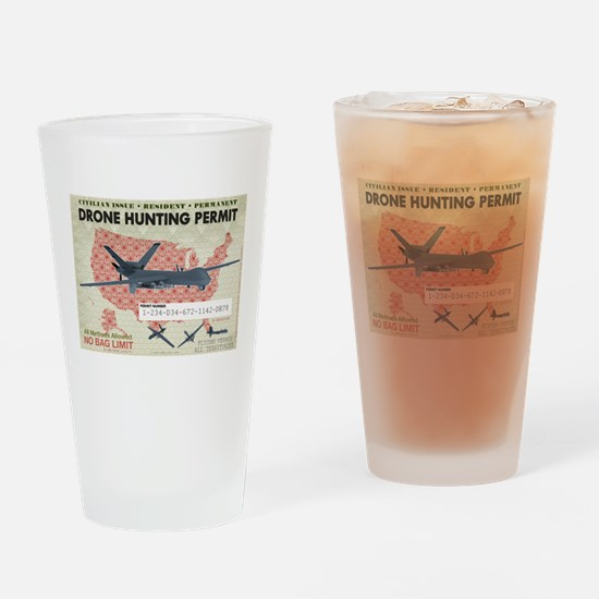 Drone Hunting Permit Drinking Glass