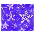 Purple and White Snowflake Pattern King Duvet