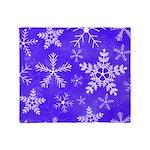 Purple and White Snowflake Pattern Throw Blanket
