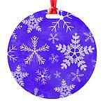 Purple and White Snowflake Pattern Round Ornament