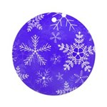 Purple and White Snowflake Pattern Ornament (Round
