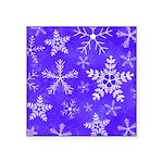 Purple and White Snowflake Pattern Square Sticker
