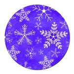 Purple and White Snowflake Pattern Round Car Magne