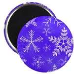 Purple and White Snowflake Pattern Magnet
