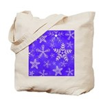 Purple and White Snowflake Pattern Tote Bag