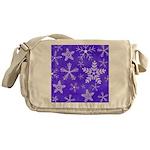 Purple and White Snowflake Pattern Messenger Bag