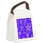 Purple and White Snowflake Pattern Canvas Lunch Ba