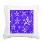 Purple and White Snowflake Pattern Square Canvas P