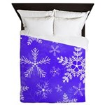 Purple and White Snowflake Pattern Queen Duvet