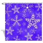 Purple and White Snowflake Pattern Shower Curtain