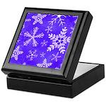 Purple and White Snowflake Pattern Keepsake Box
