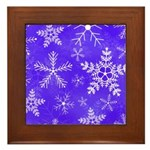 Purple and White Snowflake Pattern Framed Tile