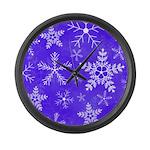Purple and White Snowflake Pattern Large Wall Cloc