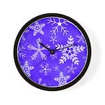 Purple and White Snowflake Pattern Wall Clock