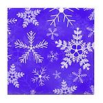 Purple and White Snowflake Pattern Tile Coaster