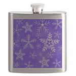 Purple and White Snowflake Pattern Flask
