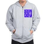 Purple and White Snowflake Pattern Zip Hoodie