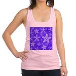 Purple and White Snowflake Pattern Racerback Tank