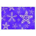 Purple and White Snowflake Pattern Large Poster