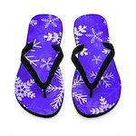 Purple and White Snowflake Pattern Flip Flops
