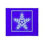 Purple and White Star Snowflake Throw Blanket