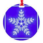 Purple and White Star Snowflake Round Ornament