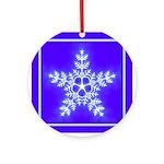 Purple and White Star Snowflake Ornament (Round)