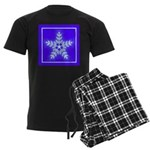 Purple and White Star Snowflake Men's Dark Pajamas