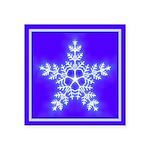 Purple and White Star Snowflake Square Sticker 3