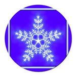 Purple and White Star Snowflake Round Car Magnet