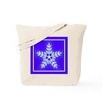 Purple and White Star Snowflake Tote Bag