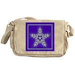 Purple and White Star Snowflake Messenger Bag