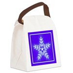 Purple and White Star Snowflake Canvas Lunch Bag