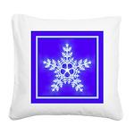 Purple and White Star Snowflake Square Canvas Pill